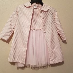 Pale pink dress with coat